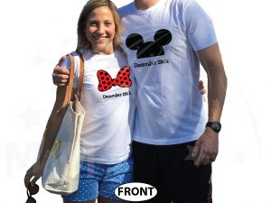 His Hers Minnie Mouse Bow Mickey Mouse Head With Wedding Date married with mickey white tshirts