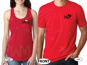 500033 Just Married Disney Couple Matching Shirts For Mr Mrs With Special Wedding Date married with mickey red tshirts