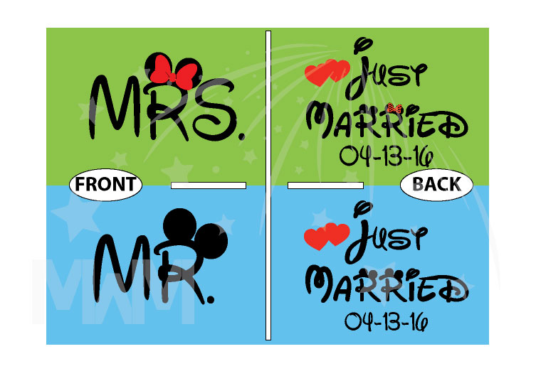 500033 Just Married Disney Couple Matching Shirts For Mr Mrs With Special Wedding Date married with mickey