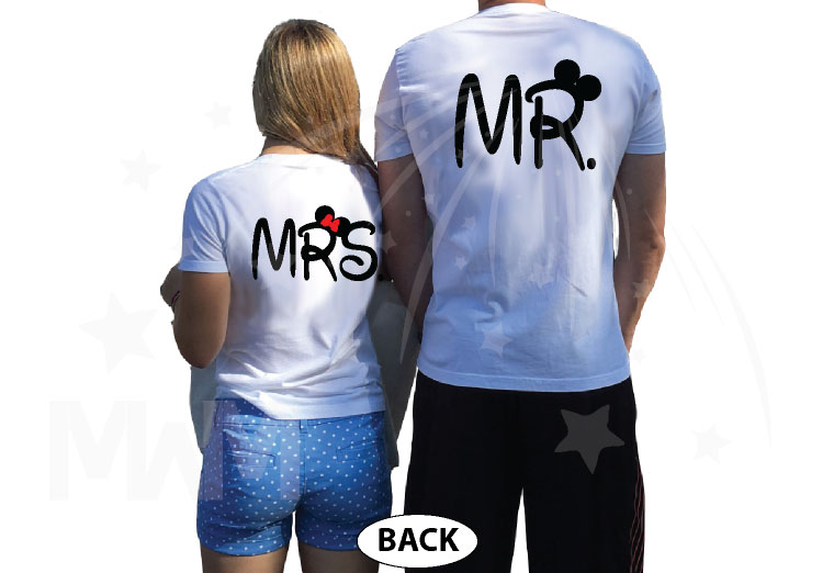 Bride And Groom Costumes Mr Mrs With Wedding Date married with mickey white tshirts