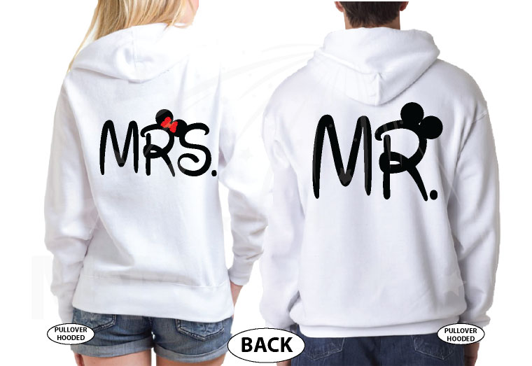 Bride And Groom Costumes Mr Mrs With Wedding Date married with mickey white hoodies