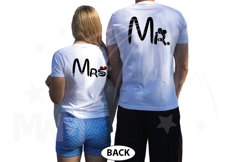 Mr and Mrs I'm Going To Disney (Disney World, Disneyland, Disneymoon) married with mickey mwm white tshirts