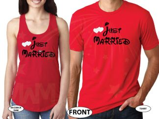 Just Married Matching Couple Apparel For Mr Mrs married with mickey red tshirts