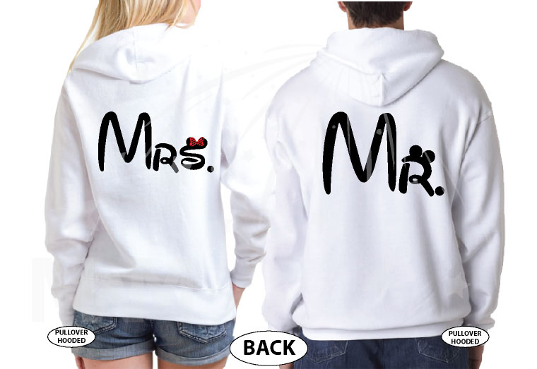 Just Married Matching Couple Apparel For Mr Mrs married with mickey white hoodies