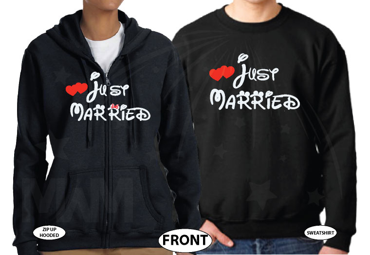 Just Married Matching Couple Apparel For Mr Mrs married with mickey black hoodies