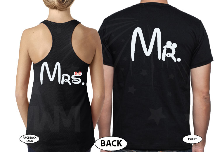 Just Married Matching Couple Apparel For Mr Mrs married with mickey black tshirts