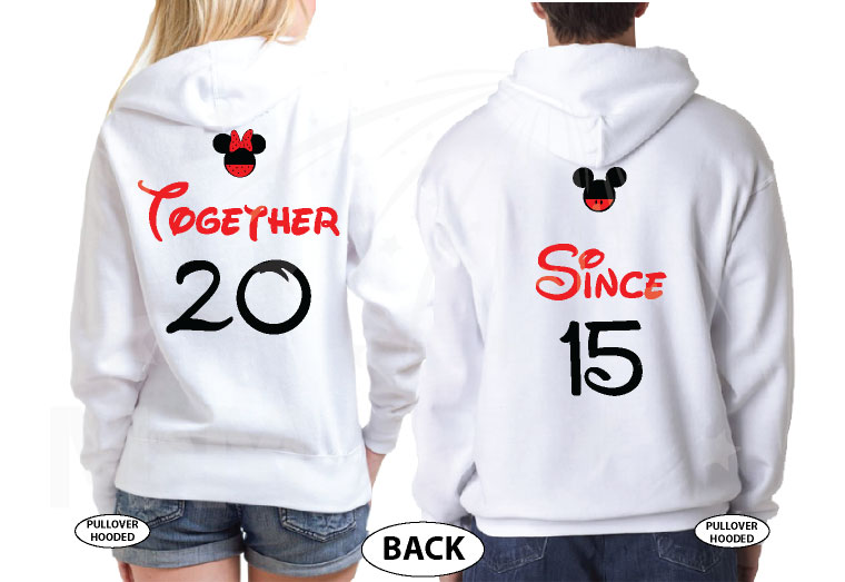 Disney Cute Matching Shirts Together Since Forever Mickey Minnie Mouse Hands in The Shape Of Heart married with mickey white hoodies