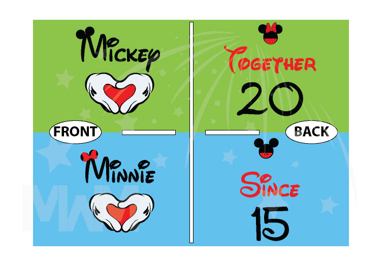 Disney Cute Matching Shirts Together Since Forever Mickey Minnie Mouse Hands in The Shape Of Heart married with mickey