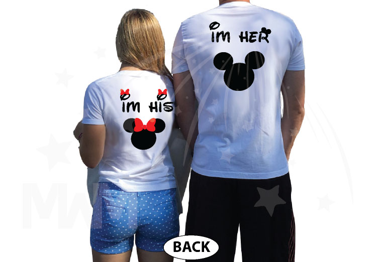True Love I'm Her Mickey Mouse I'm His Minnie Mouse married with mickey mwm white tshirts