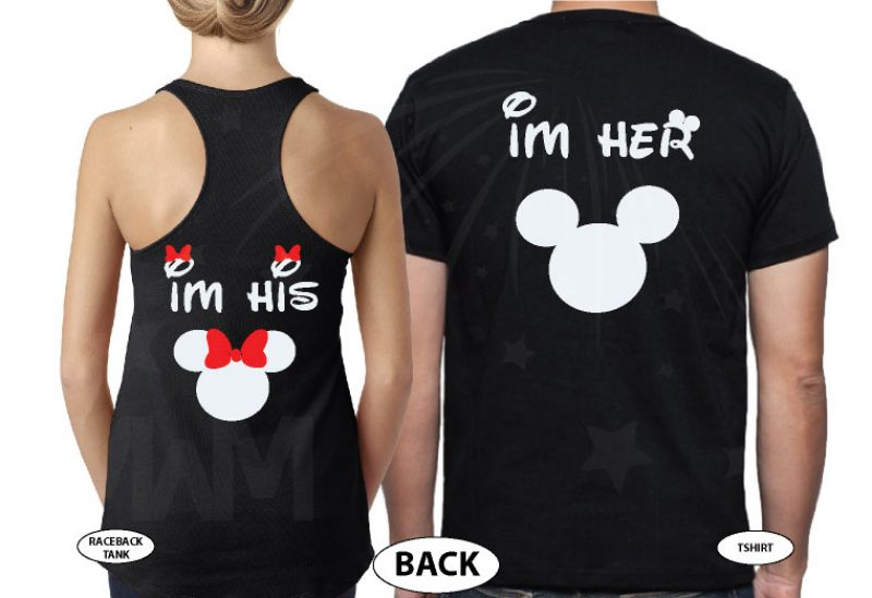 True Love I'm Her Mickey Mouse I'm His Minnie Mouse married with mickey mwm black tshirts