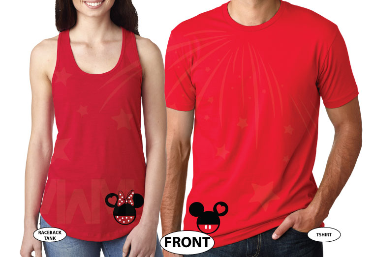 Mickey Minnie Mouse Heads For Cute Mr and Mrs Couple married with mickey red tees