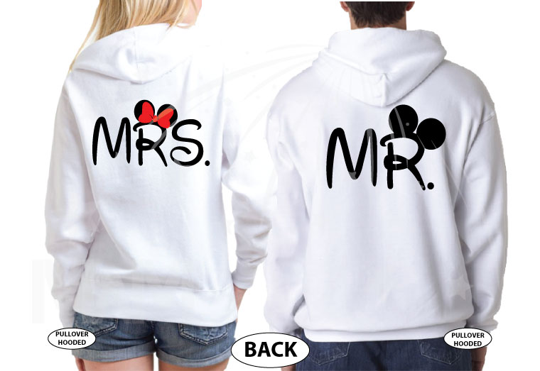 Mickey Minnie Mouse Heads For Cute Mr and Mrs Couple married with mickey white hoodies