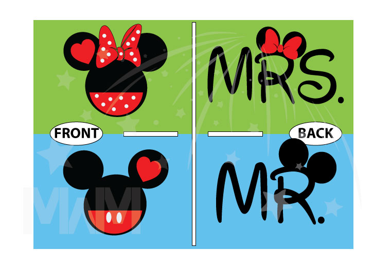 Mickey Minnie Mouse Heads For Cute Mr and Mrs Couple married with mickey