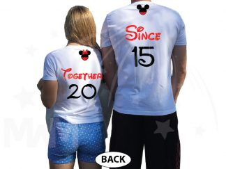 Disney Cute Matching Shirts Together Since Forever Mickey Minnie Mouse For Mr and Mrs married with mickey white tshirts