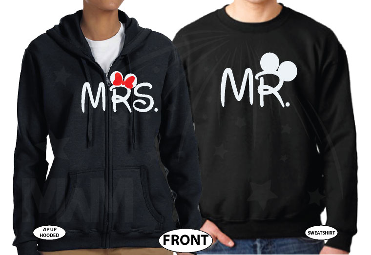 Disney Cute Matching Shirts Together Since Forever Mickey Minnie Mouse For Mr and Mrs married with mickey black hoodies