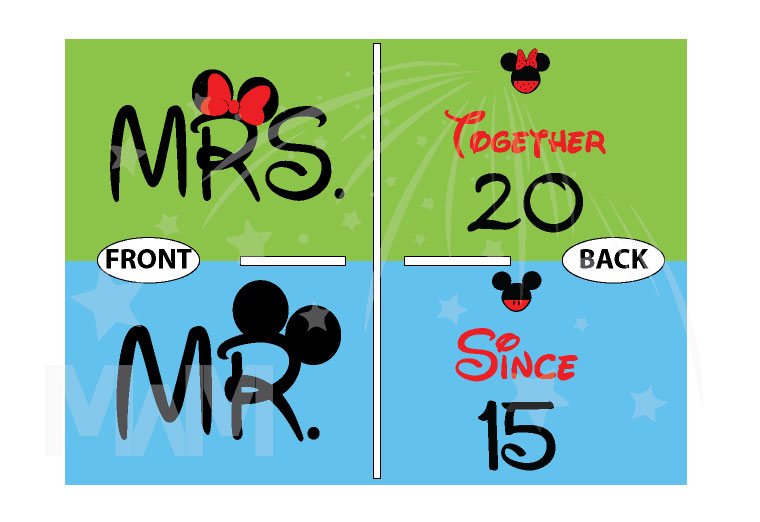 Disney Cute Matching Shirts Together Since Forever Mickey Minnie Mouse For Mr and Mrs married with mickey