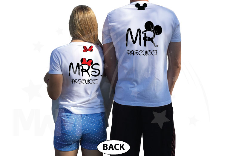 I Do Wedding Date Mr Mrs Custom Last Name, Cute Minnie Mouse Polka Dot Red Bow and Mickey Mouse Head On Hood married with mickey white tshirts