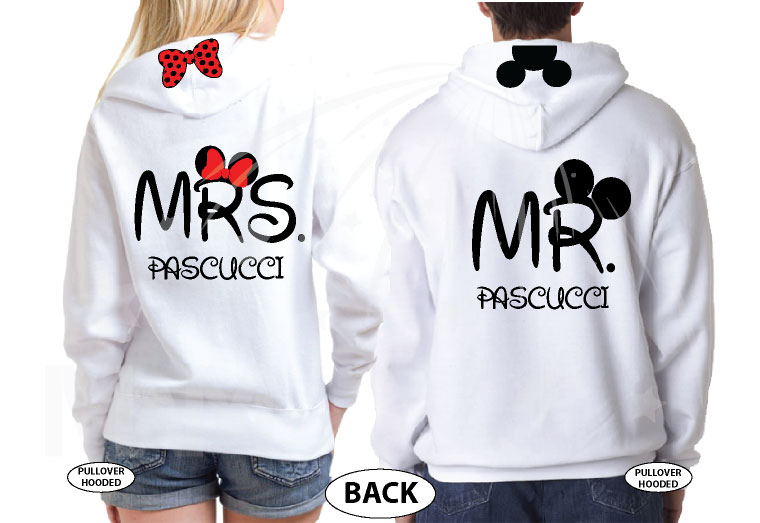 I Do Wedding Date Mr Mrs Custom Last Name, Cute Minnie Mouse Polka Dot Red Bow and Mickey Mouse Head On Hood married with mickey white sweaters
