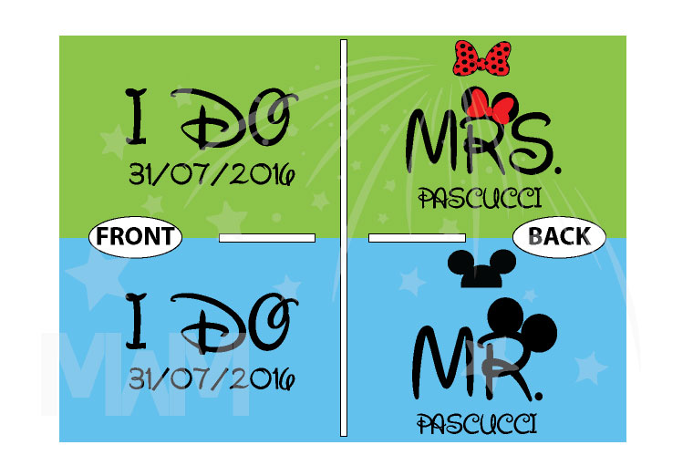 I Do Wedding Date Mr Mrs Custom Last Name, Cute Minnie Mouse Polka Dot Red Bow and Mickey Mouse Head On Hood married with mickey
