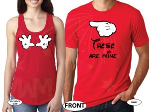 500054 Mickey's Hands Cool Matching Shirts For Awesome Couple married with mickey red tees