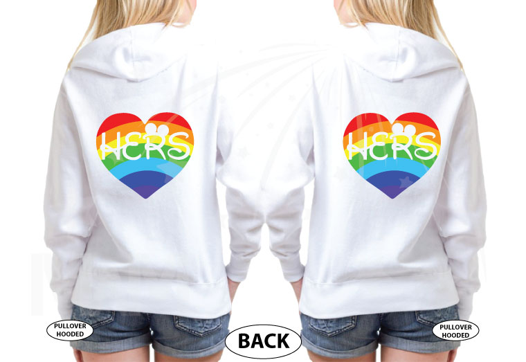 LGBT Lesbian Cute Couple Shirts Hers Rainbow She Proposed Today She Said Yes married with mickey mwm white hoodies
