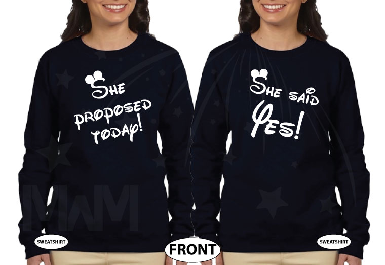 LGBT Lesbian Cute Couple Shirts Hers Rainbow She Proposed Today She Said Yes married with mickey mwm black hoodies