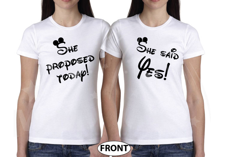 LGBT Lesbian Cute Couple Shirts Hers Rainbow She Proposed Today She Said Yes married with mickey mwm white tees
