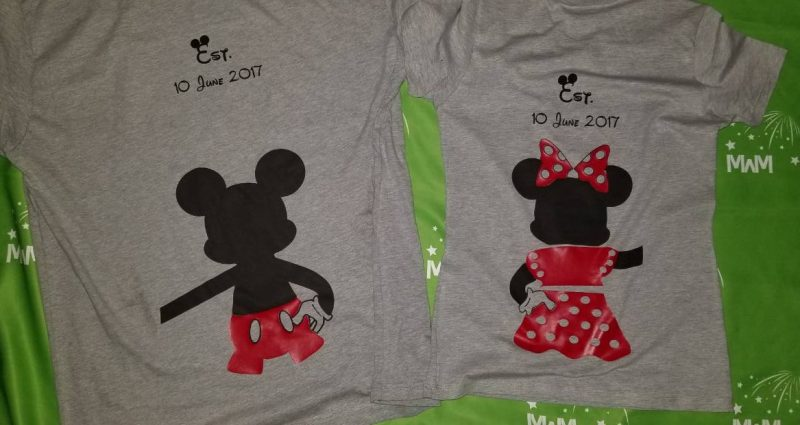 Mr and Mrs Mickey Minnie Mouse Disney Cute Holding Hands married with mickey white tshirts grey tshirts