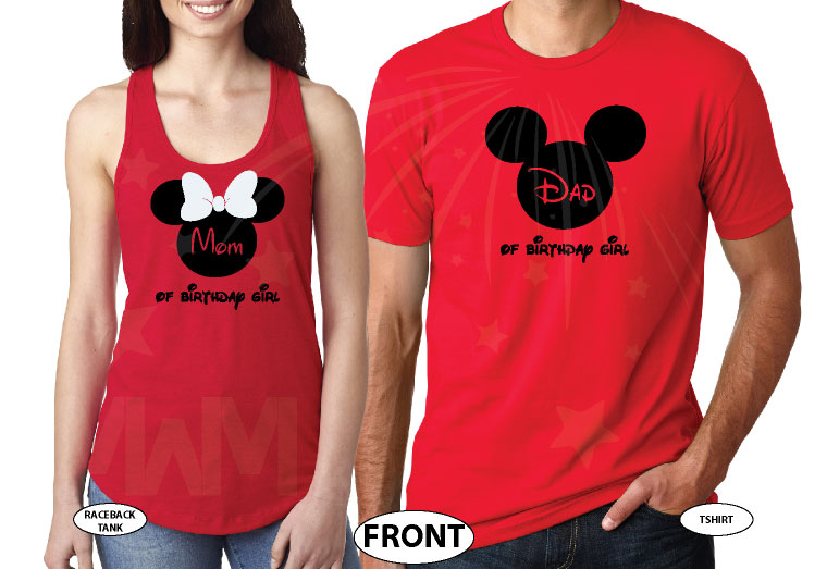 Dad And Mom Of Birthday Girl Boy Disney Family Couple Shirts Married With Mickey