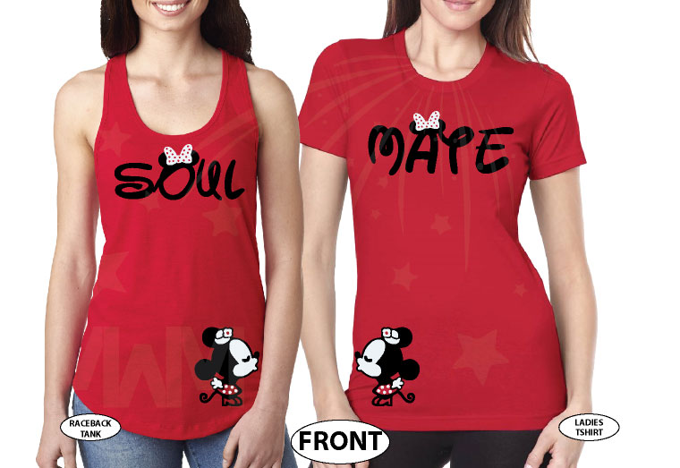 LGBT Lesbian Soul Mate Polka Dots Kissing Minnie Mouse married with mickey mwm red tees