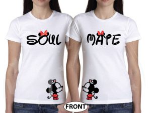 LGBT Lesbian Soul Mate Polka Dots Kissing Minnie Mouse married with mickey mwm white tees
