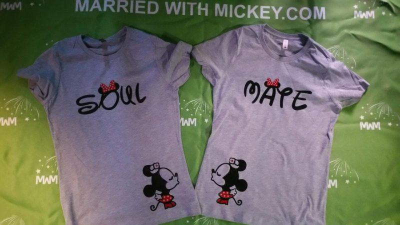 LGBT Lesbian Soul Mate Polka Dots Kissing Minnie Mouse married with mickey grey tshirts