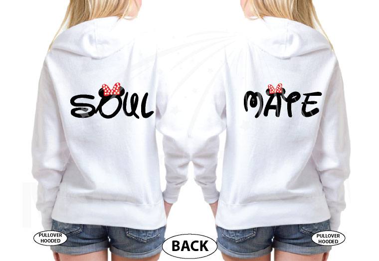 LGBT Lesbian Soul Mate Matching Couple Apparel married with mickey mwm white hoodies
