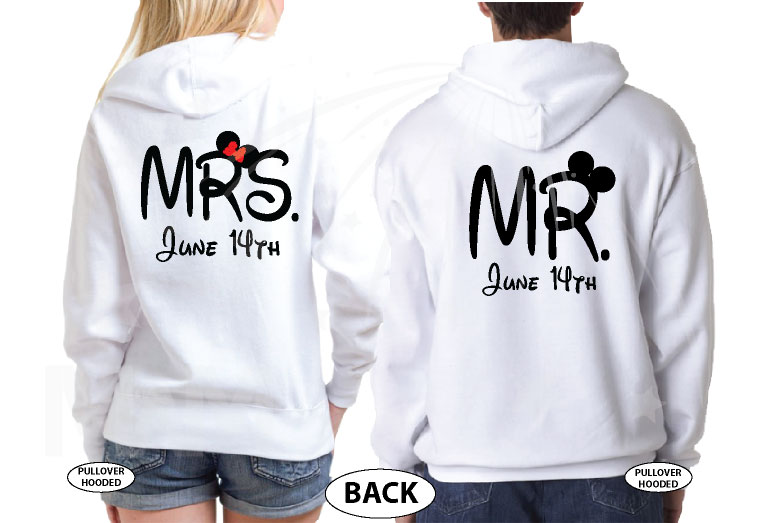 Mr Mrs I'm His Princess I'm Her Prince With Custom Wedding Date married with mickey white hoodies