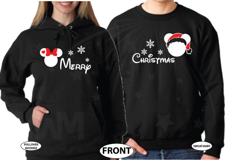 Merry Christmas Disney Matching Shirts Mickey Minnie Mouse Head Snowflakes married with mickey black hoodies