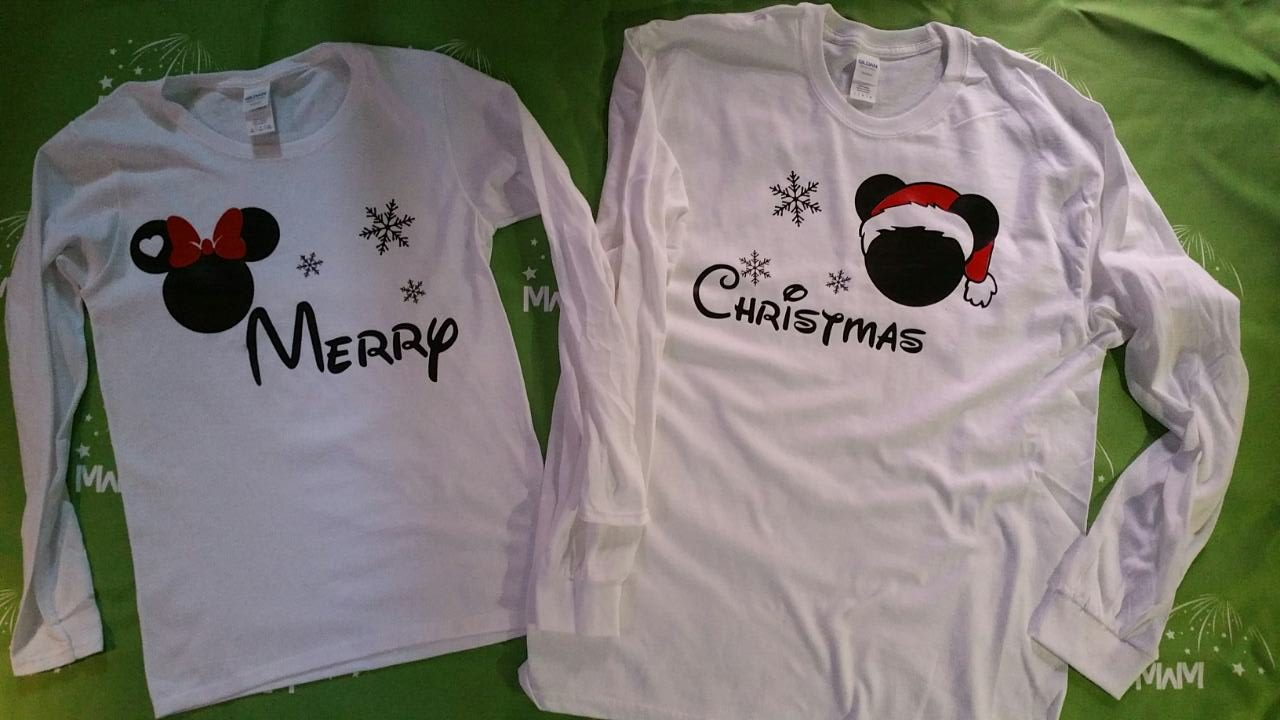 Disney Christmas Shirts.Merry Christmas Disney Matching Shirts Mickey And Minnie Mouse Heads With Snowflakes World S Cutest Matching Couple Shirts Etsy Holidays 5xl