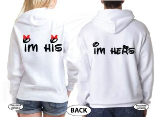 I'm Hers I'm His Mickey Minnie Mouse Heads married with mickey white hoodies