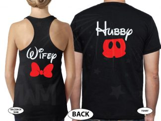 Hubby Wifey Mickey Mouse Pants Minnie Mouse Cute Bow married with mickey black tank top and tee