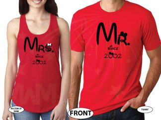 Mr Mrs Since Wedding Date Matching Cute Couple Hoodies, Zip Up Hoodies, Baseball Tees, T-Shirts and more married with mickey red tank top and tee