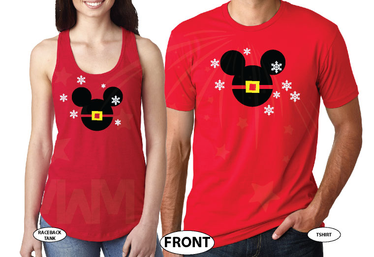 Mickey Minnie Mouse Heads Santa Claus Christmas Shirts For Family With Snowflakes Hoodies, Zip Ups, Sweatshirts, V Neck T-Shirts and more married with mickey red tank top and tee