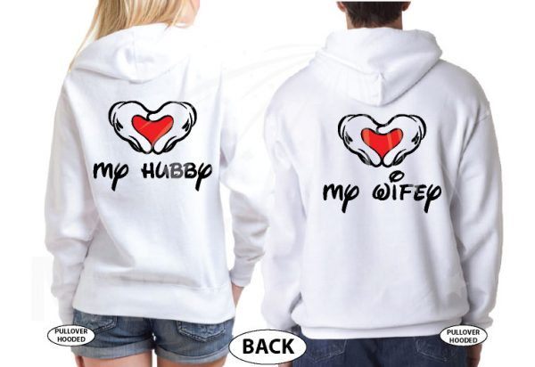 Mickey Hands In Heart Love My Hubby Love My Wifey married with mickey white hoodies