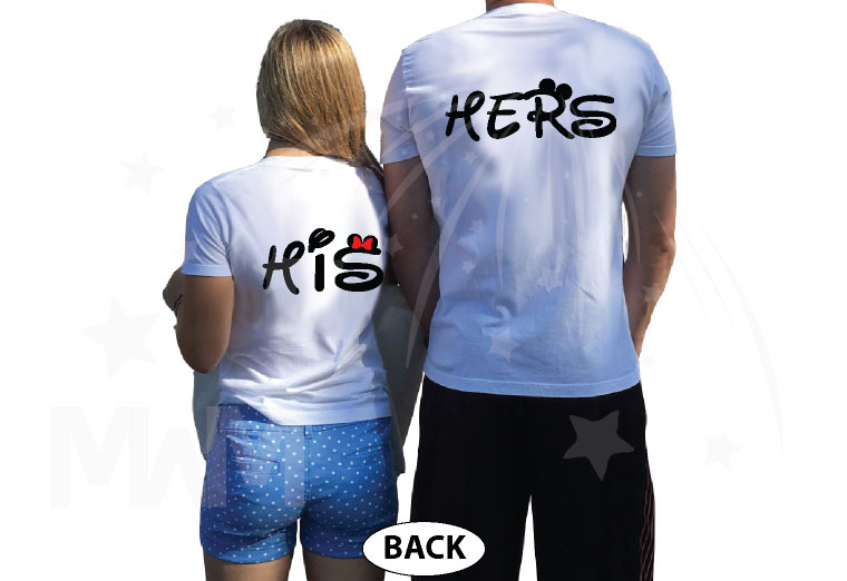 Little Mickey Minnie Mouse Kiss His And Hers T-Shirts, V Neck Tshirts, Tank Tops, Baseball Tees, Sweatshirts, Zip Up Hoodies and more married with mickey white tees