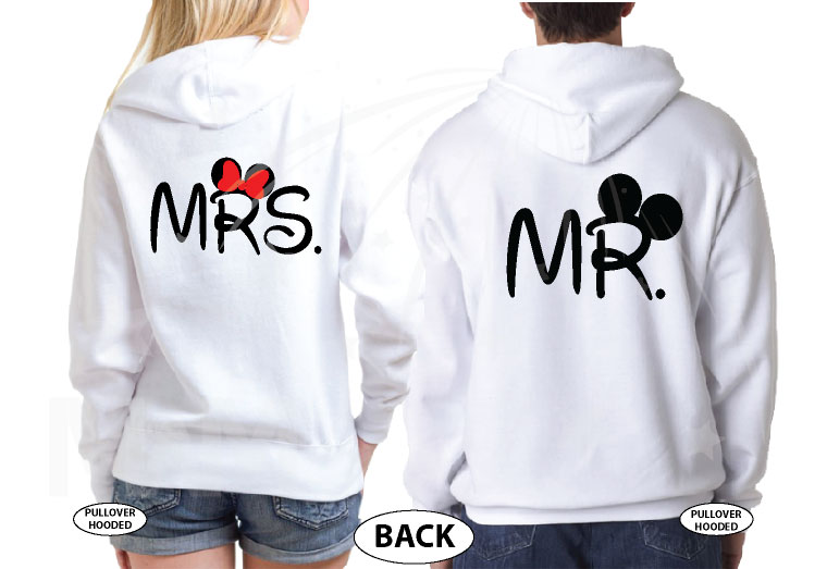 Mr Mrs Mickey Minnie Mouse Big Ears Wedding Date And Name married with mickey white hoodies