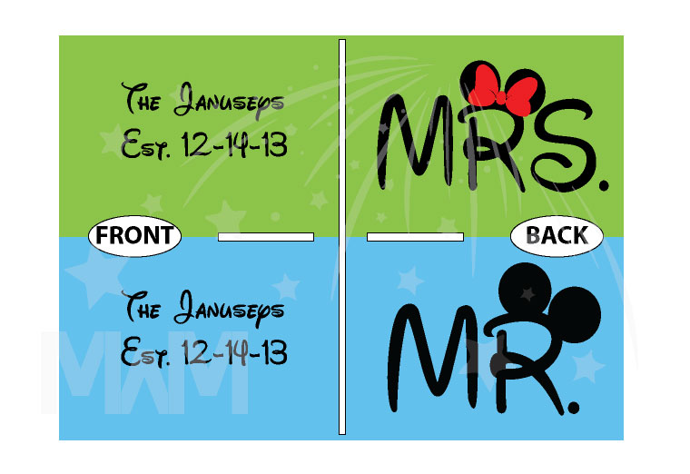 Mr Mrs Mickey Minnie Mouse Big Ears Wedding Date And Name married with mickey