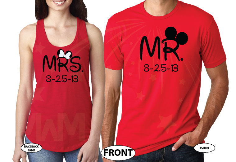 500101 Cute Couple Shirts For Mr Mrs With Big Ears and Custom Wedding Date married with mickey red tshirts