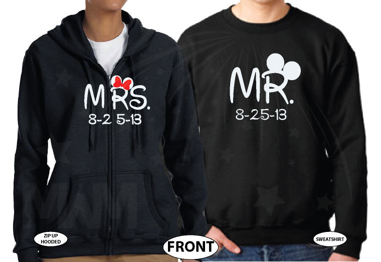 500101 Cute Couple Shirts For Mr Mrs With Big Ears and Custom Wedding Date married with mickey black hoodies