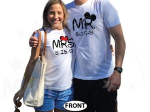 500101 Cute Couple Shirts For Mr Mrs With Big Ears and Custom Wedding Date married with mickey white tshirts