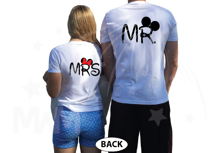 Mickey Minnie Mouse Heads Bow Polka Dot Mr Mrs With Big Ears married with mickey white tshirts