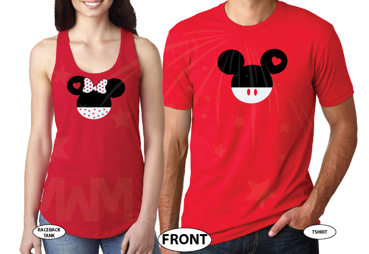 Mickey Minnie Mouse Heads Bow Polka Dot Mr Mrs With Big Ears married with mickey red tshirts