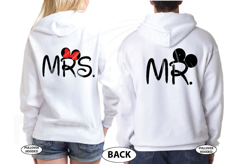 Mickey Minnie Mouse Heads Bow Polka Dot Mr Mrs With Big Ears married with mickey white hoodies